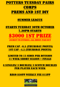 Tuesday Pairs comp starting soon